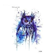3D Waterproof Temporary Tattoo Sticker Halloween Easter Blue Owl Design Big Flash Fake Tattoos Tatouage Body Art Decals