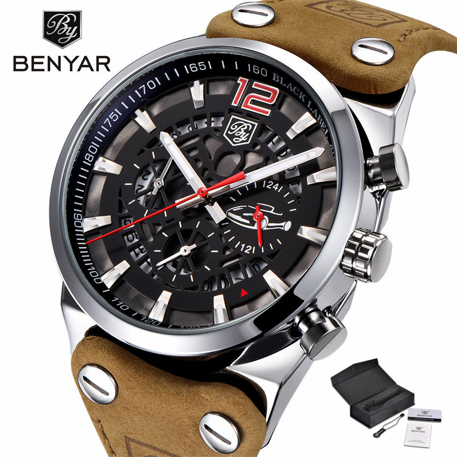 купить BENYAR Chronograph Wrist Watch Men Military Genuine Leather Strap Quartz Watches Top Luxury Brand Date Calender Clock Gift(Box) по цене 2039.25 рублей