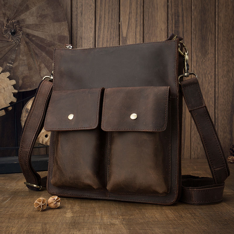 AETOO  Original design crazy horse leather men's shoulder bag briefing package packs the first layer of cowhide retro leisure