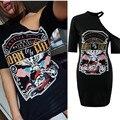 Mulheres Sexy T-shirts de Impressão em Preto de Um Ombro Bandage Vestidos Para Senhoras Moda Verão Curto Manga Longa Tops Tees Camisas XL