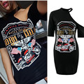 Womens Sexy Black Print One Shoulder Bandage T-shirts Dresses For Ladies Summer Fashion Short Sleeve Long Tops Tees Shirts XL