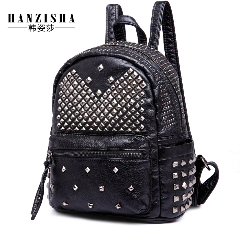 2017 High Quality PU Leather Women Backpack Vintage School Backpack Designer Brand Bag Women Rivet Female