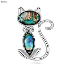 Liga natural concha broches jóias bonito gato preto broche pinos para as mulheres pequeno animal verde olho kitty broche pino jóias h1280