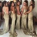 Gold Sequins Bridesmaid Dresses Long Mermaid Formal Gown Open Back Bridesmaid Dress Sparkling Longo Vestidos Da Dama de honra