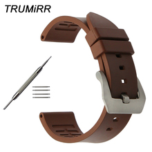 Fluoro Rubber Watchband 22mm 24mm Universal Watch Band Brushed Stainless Steel Clasp Strap Wrist Bracelet Black Brown Orange Red