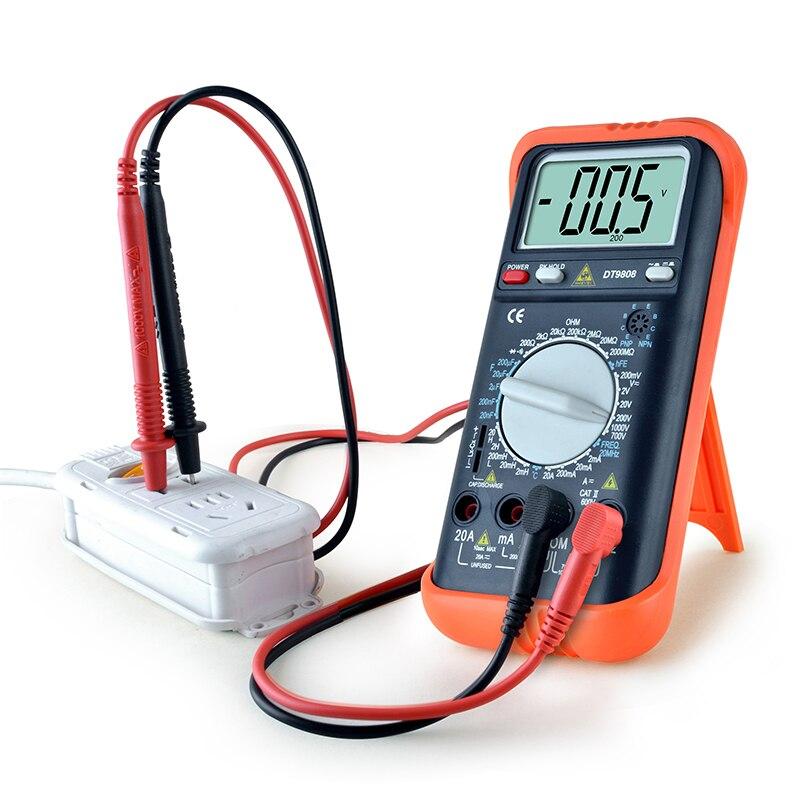 Multimètre numérique Mini DC/AC voltmètre indicateur compteur électrique Set sondes Transistor mesure de courant testeur de condensateur ESR