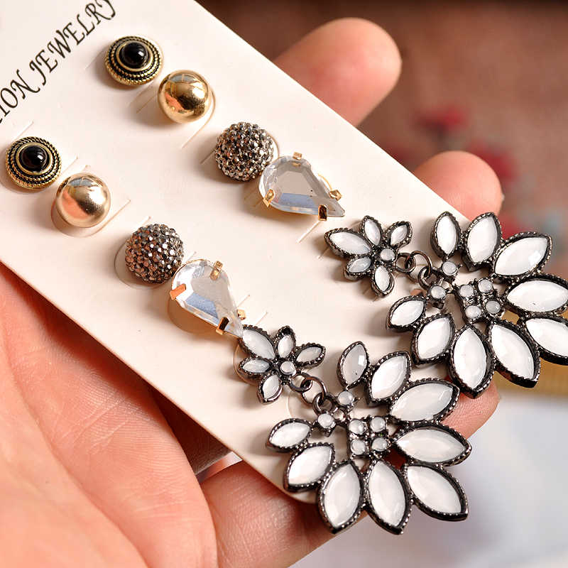 2018 fashion women's jewelry wholesale girls birthday party earrings pearl mixed suit 6 pairs /set earrings free shipping
