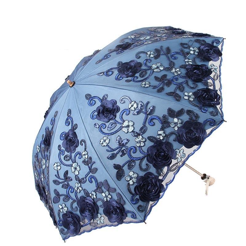 2018 Folding umbrellas umbrella rain women folding UV protection umbrella Embroider Fashion lace fashion print umbrellas