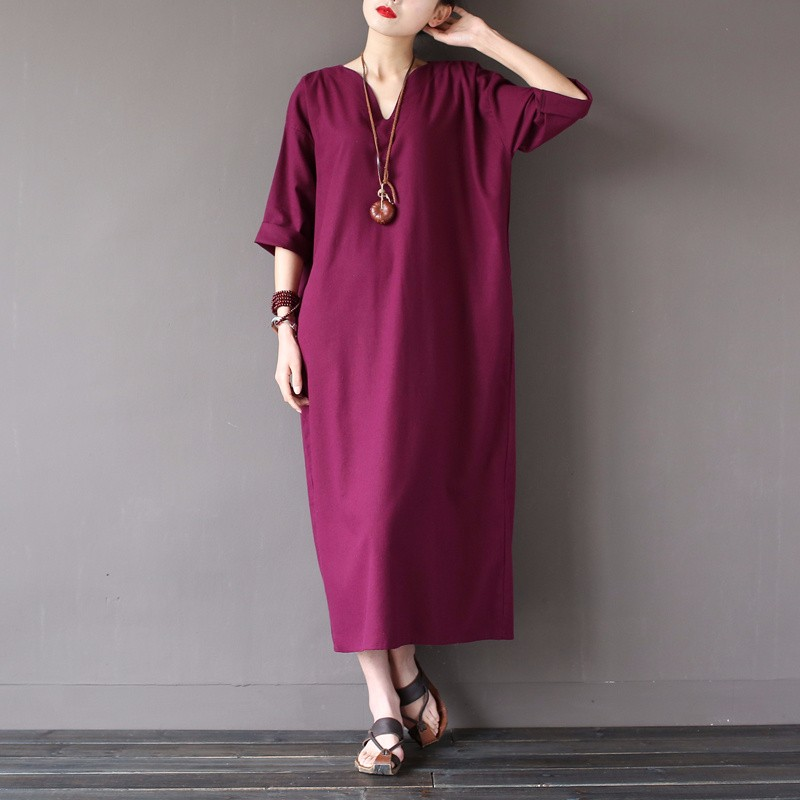 984b15150d6 2017 Summer Fashion Women Clothing Loose Linen Dress Boho V Neck Shirt Red  Pink Blue Ethnic Dress Vintage Dresses tunic Vestidos-in Dresses from  Women s ...