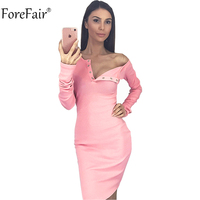 ForeFair Long Sleeve Covered Button V Neck Sexy Bodycon Dress Women Red Pink Cotton Basic Casual