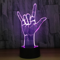 3D Optical Illusion I Love You Sign Language LED Table Night Light USB Operated Romantic White