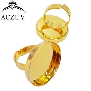 Gold Color 100pcs 25mm Round Cabochon Settings Adjustable Ring Blanks Bezel Ring Base Ring Tray Findings RRT005