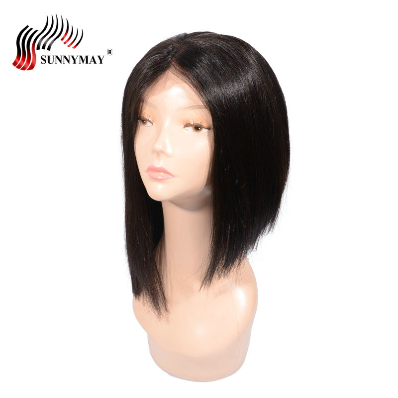 Sunnymay Short Bob Wigs Middle Part Brazilian Remy Hair Straight 150%Density Lace Front Human Hair Wigs For Black Women