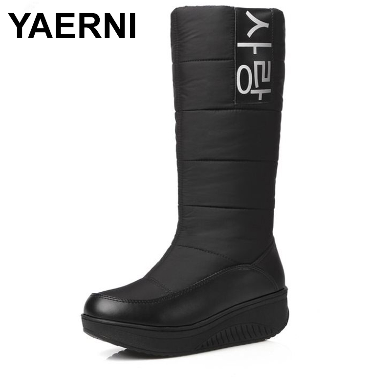 YAERNI Women Winter Snow Boots Thick Fur Inside Platform Shoes Woman Wedges Heel Mid Calf Botas Female Footwear E675 lukuco pure color women mid calf snow boots with faux fur design high quality pu made med wedges heel shoes
