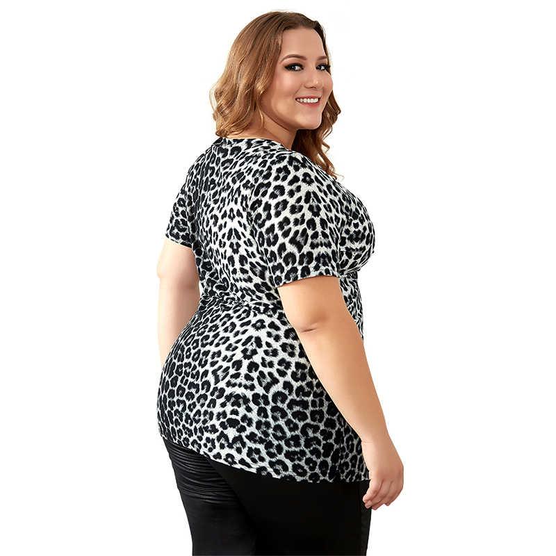 YTL женские топы, летняя сексуальная туника с v-образным вырезом, рюшами и леопардовым принтом, женская футболка с коротким рукавом, повседневные рубашки, M-8XL, H087