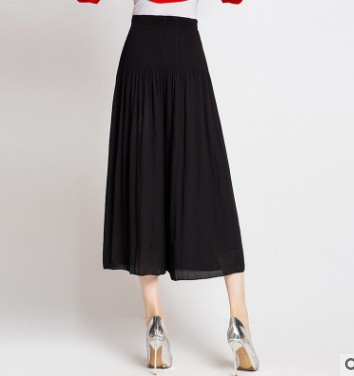 Livraison Taille vert Jambe Solide Et Mode Été Printemps Noir Femelle Stock bleu Miyake caramel Color Pantalon Mi En Large Gratuite La FxrUqvgwFP