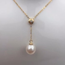 Sinya 18k Au750 gold necklace inlay 0 023ct real Diamond with 9mm natural pearls Y style