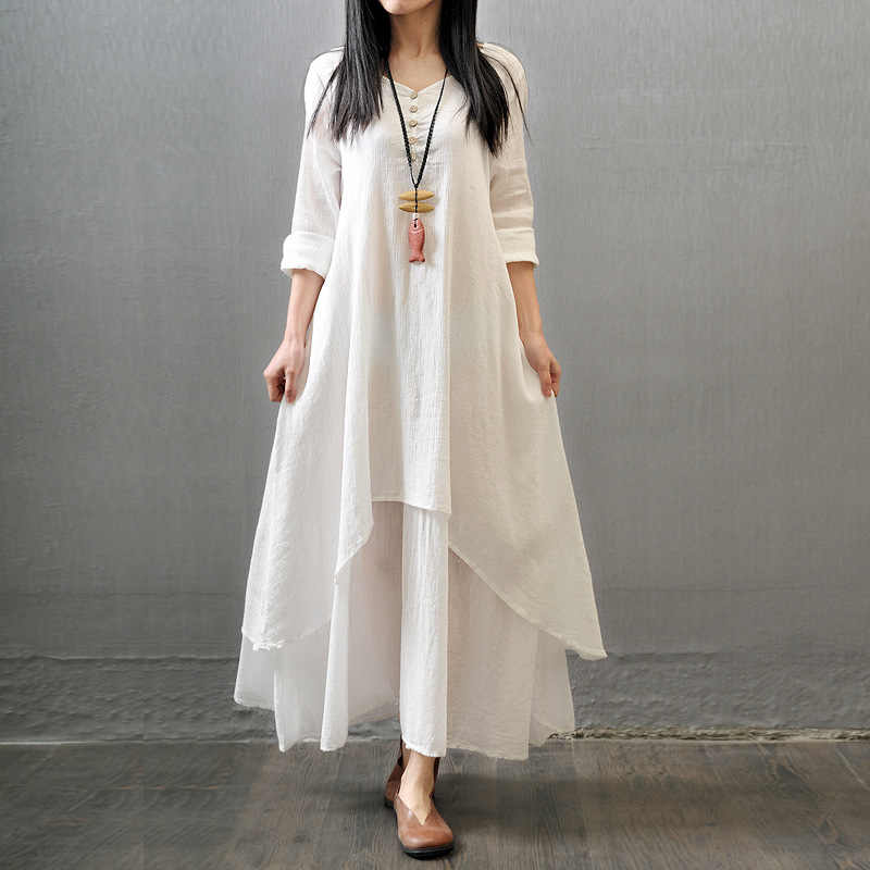 4106730307c Vintage Women Double Layers Long Spring Fall Loose Linen Maternity Tops  Maxi Tunic White Red Dress