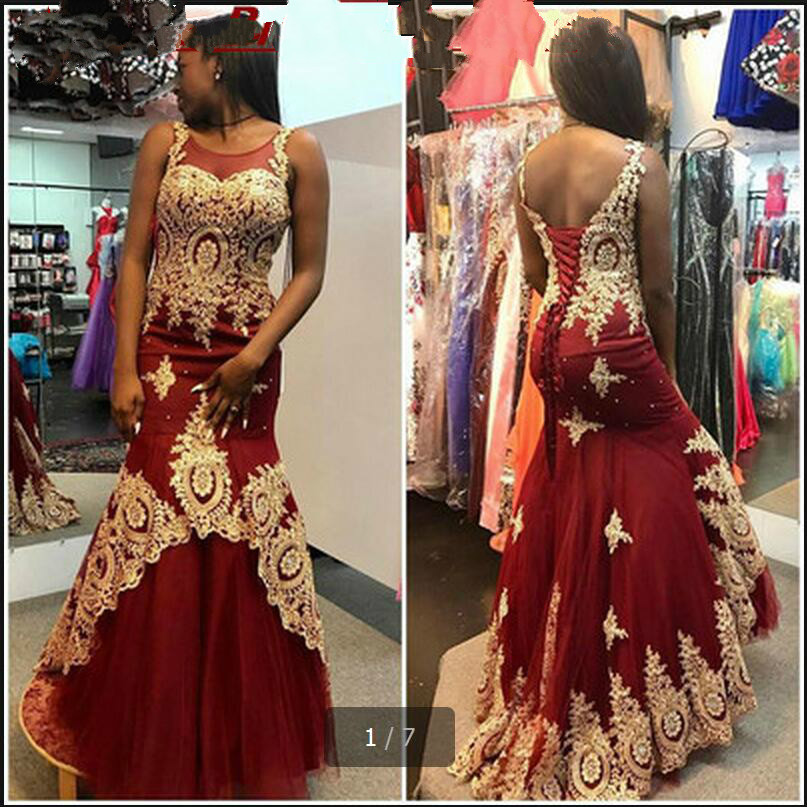 2017 Vestido De Novia mermaid burgundy gold lace   prom     dress   beading sequins sleeveless sheer back sexy   prom   gowns hot sale