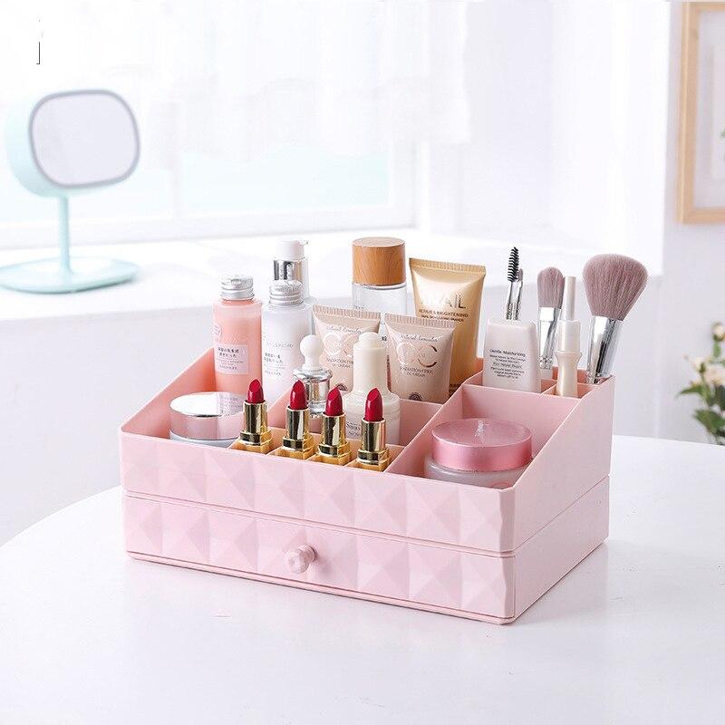 Nordic Style Drawer Box Cosmetic Storage Contaniner Plastic Material Desktop Jewelry Home Makeup Brush Holder Organizer