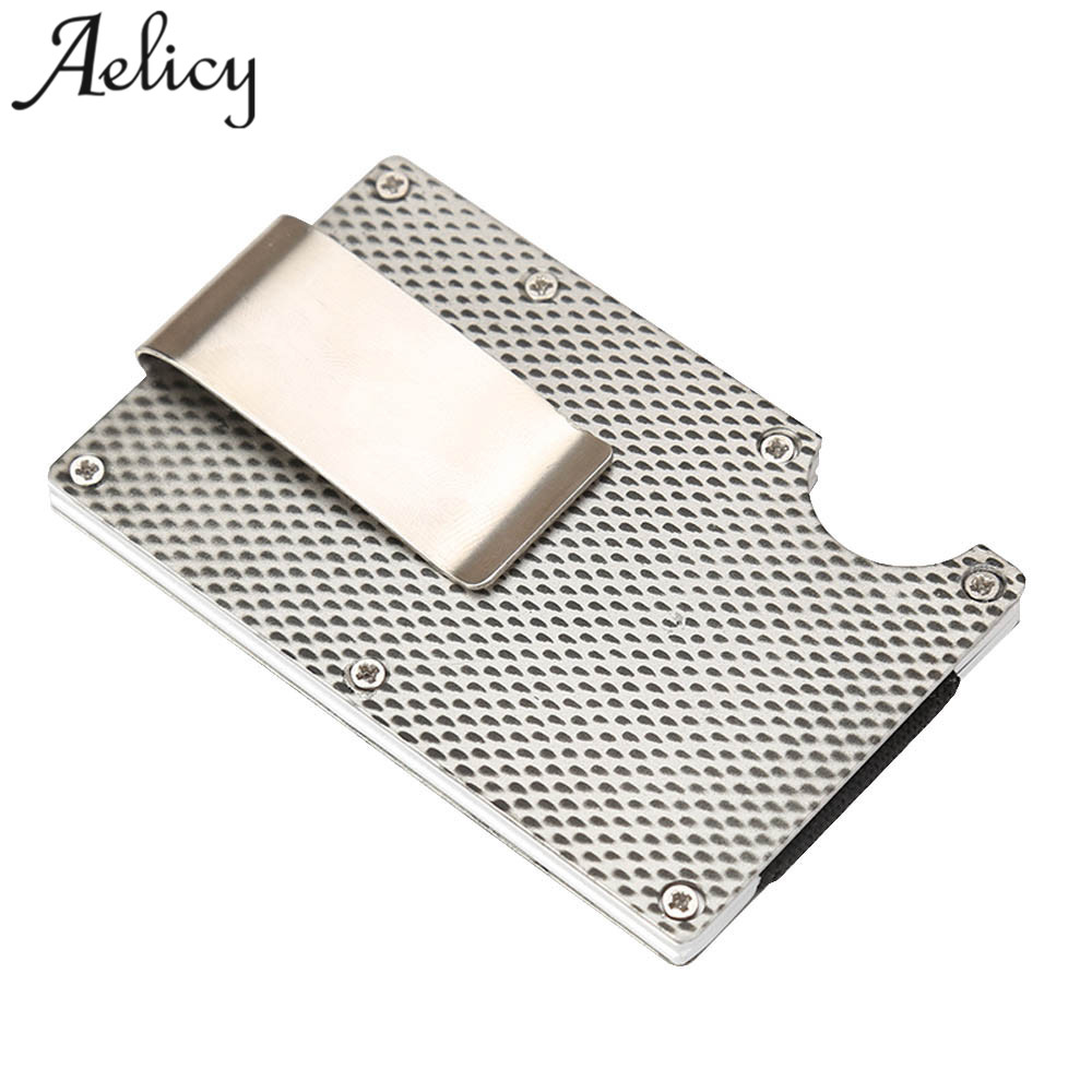Aelicy Metal Credit Card ID Holder Fashion Mini Money Holder With RFID Anti-chief Wallet Automatic Credit Card Holder Anti-chief excellent elite spanker military vertical id card credit card tactical holder two in one with adjustable