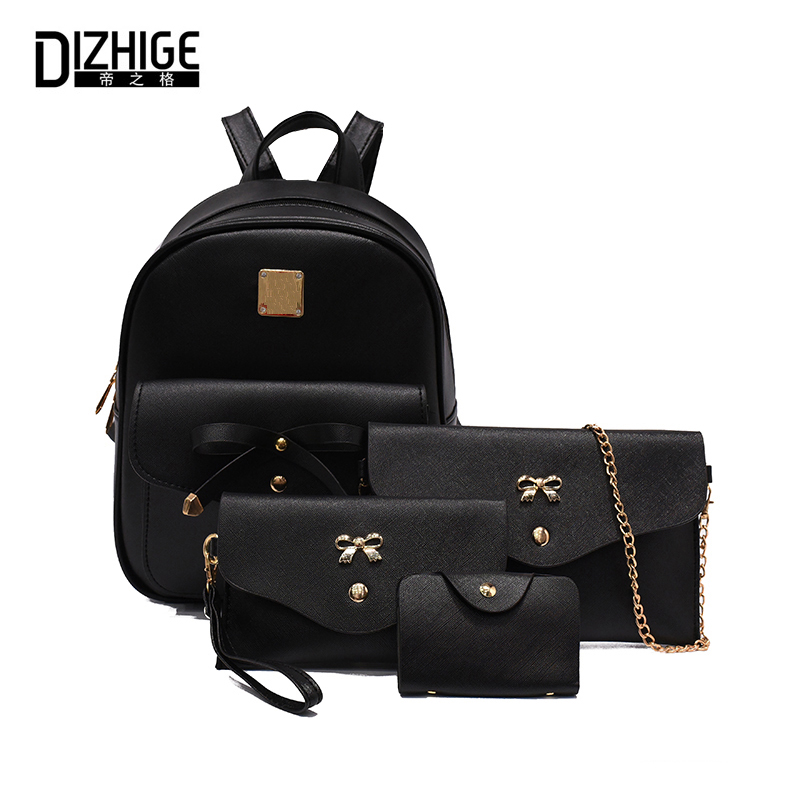 DIZHIGE Brand Fashion 4 Pcs/Set Women Backpack New Bow School Bags For Teenagers Girls Designer PU Leather Backpack Women 2017 2018 new casual girls backpack pu leather 8 colors fashion women backpack school travel bag with bear doll for teenagers girls page 4
