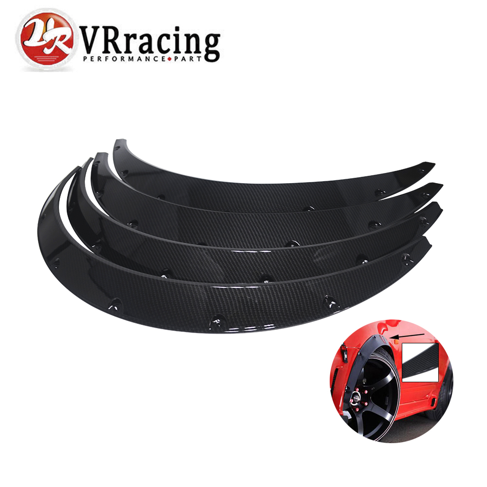 LZONE RACING - 4 Pcs Carbon Fiber Car Fender Flares Arch Wheel Eyebrow Protector/mudguards Sticker Universal JR-CFF02 4pcs universal jdm fender flares wheel arch 2 inch 50mm decorative left right front rear set abs plastic car fittings