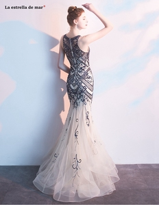 Image 4 - Abendkleider lang, новинка, тюль, кристалл, роскошное шампанское, сексуальное, Русалка, турецкое вечернее платье, роскошное, vestido longo festa noite custo