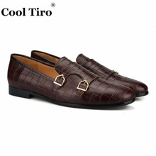 COOL TIRO men Genuine Leather Crocodile pattern with Hasp Party  Banquet casual shoes British style fashion loafers Plus size