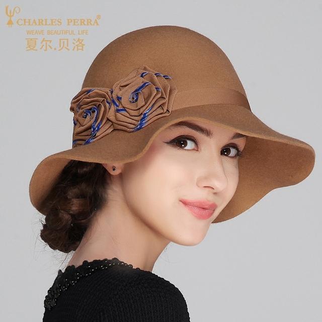 Lady New Outono e Inverno Chapéu Feminino Chapéu de Lã de Inverno Em Forma Elegante Coreano Inglaterra Cúpula Chapéu Da Forma Quente Flor B-4185