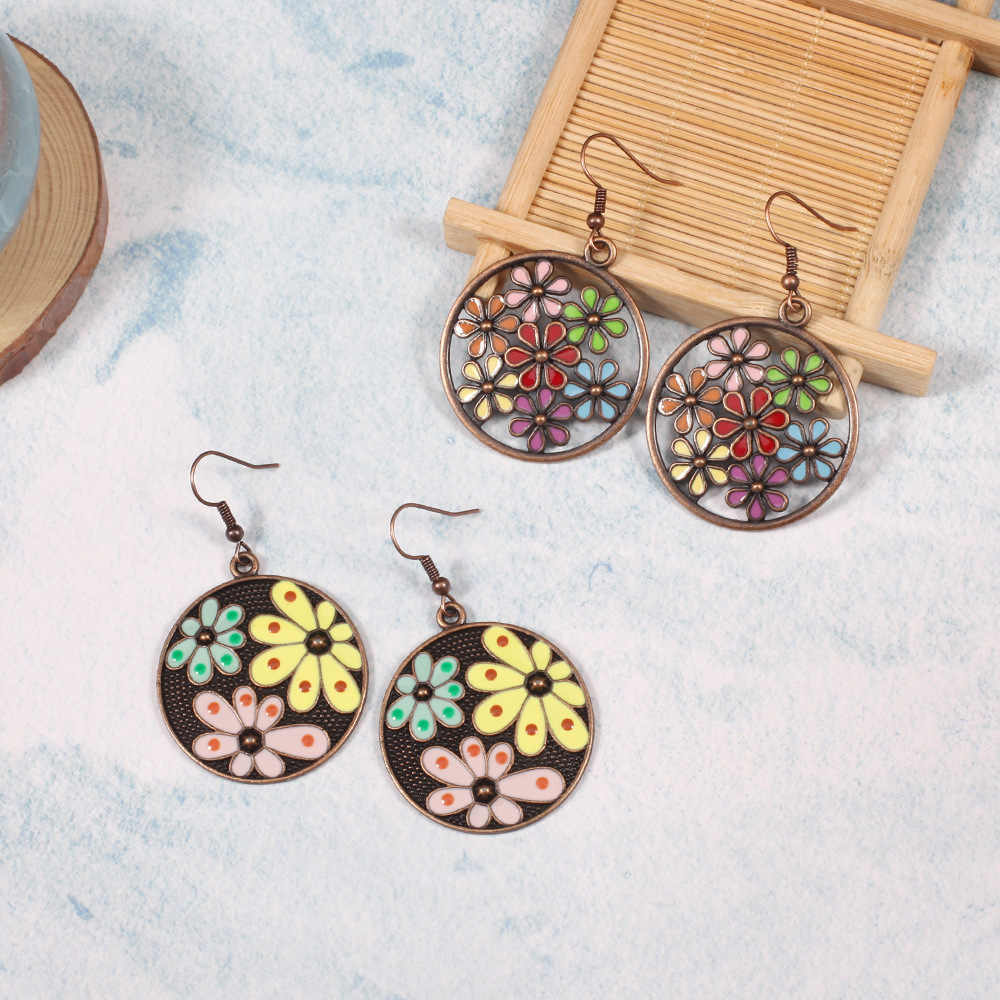 HC Fashion Water Drop Ethnic Multi Color Enamel Earrings Boho Jewelry Gypsy Hippie Vintage Women Earrings Brinco Pendientes F