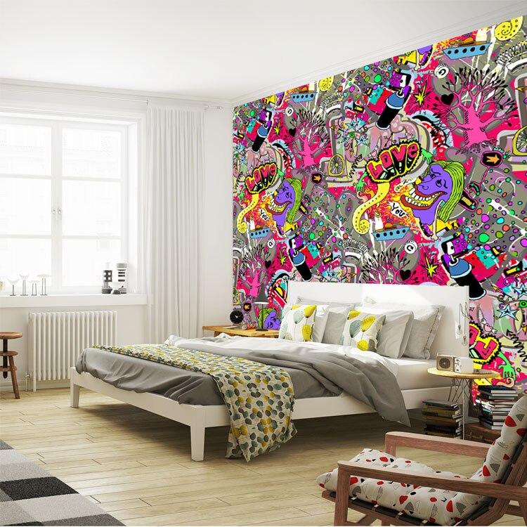 Aliexpress Com Buy Graffiti Boys Urban Art Wallpaper 3d Photo Wallpaper Custom Wall Mural Street Art Room Decor Kid Bedroom Hallway Halloween Decor From