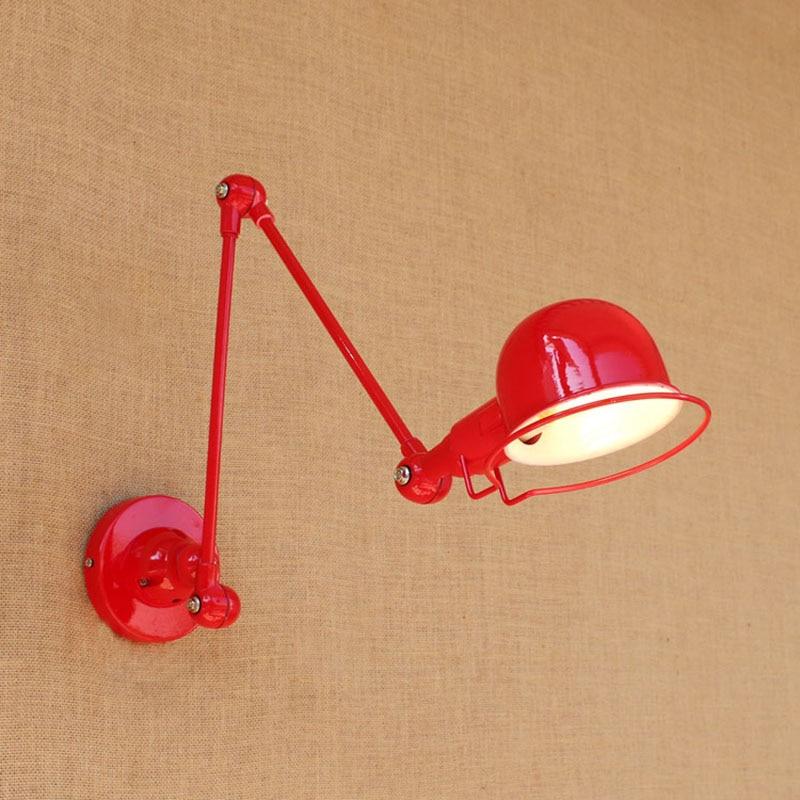 ФОТО Jielde Vintage Zinc Alloy Metal Bar 2 Arms Lamp Loft Style Adjustable black/red Wall Light