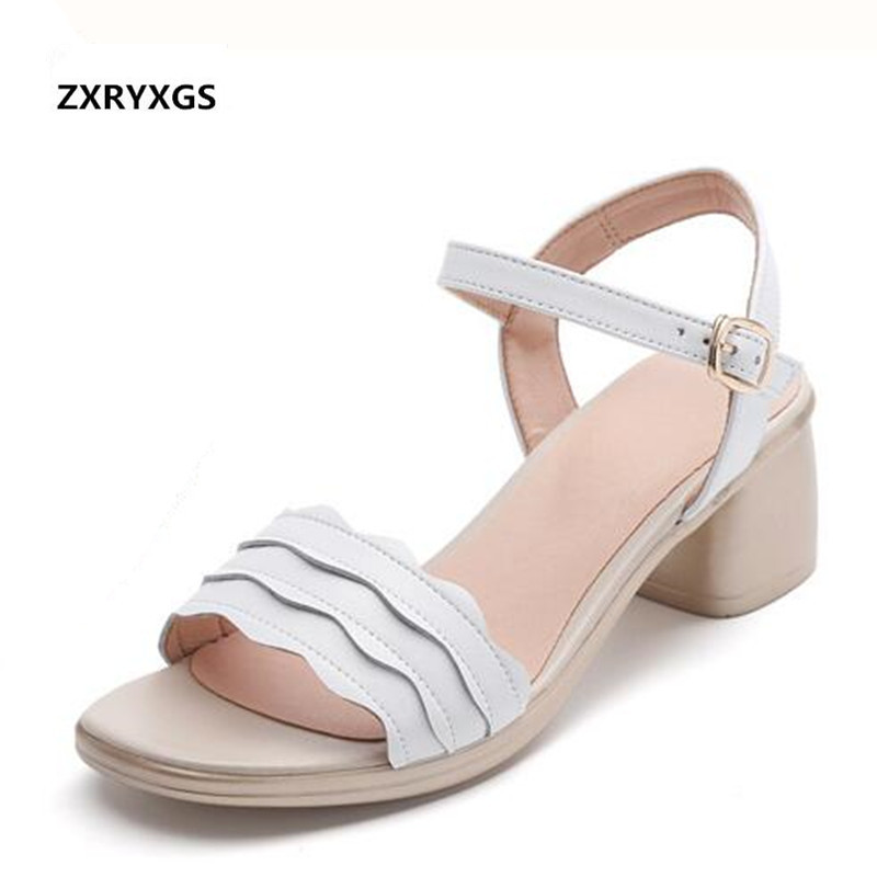 2019 Newest Open Shoes Woman Summer Sandals Comfortable Elegant Fashion Sandals Large Size Genuine Leather Sandals Women Shoes-in Middle Heels from Shoes    1