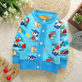2016 Infant warm sweater baby boys autumn casual sweater toddler cartoon cardigan plus thick velvet sweater