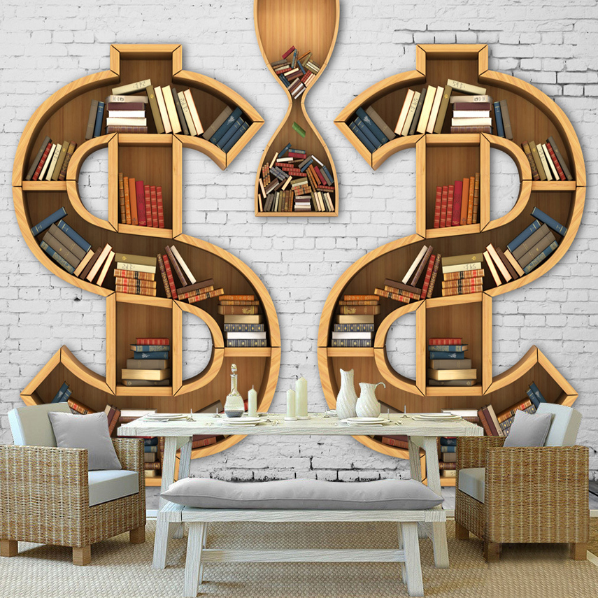Custom 3D Mural Wallpaper Abstract Art Bookcase Books Bookshelf Backdrop Wall Painting Living Room Bedroom Decorative