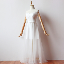 White Colour Long Dress Short Inner Lining Bridesmaid Dresses Woman for Party and Wedding Back of Bandage