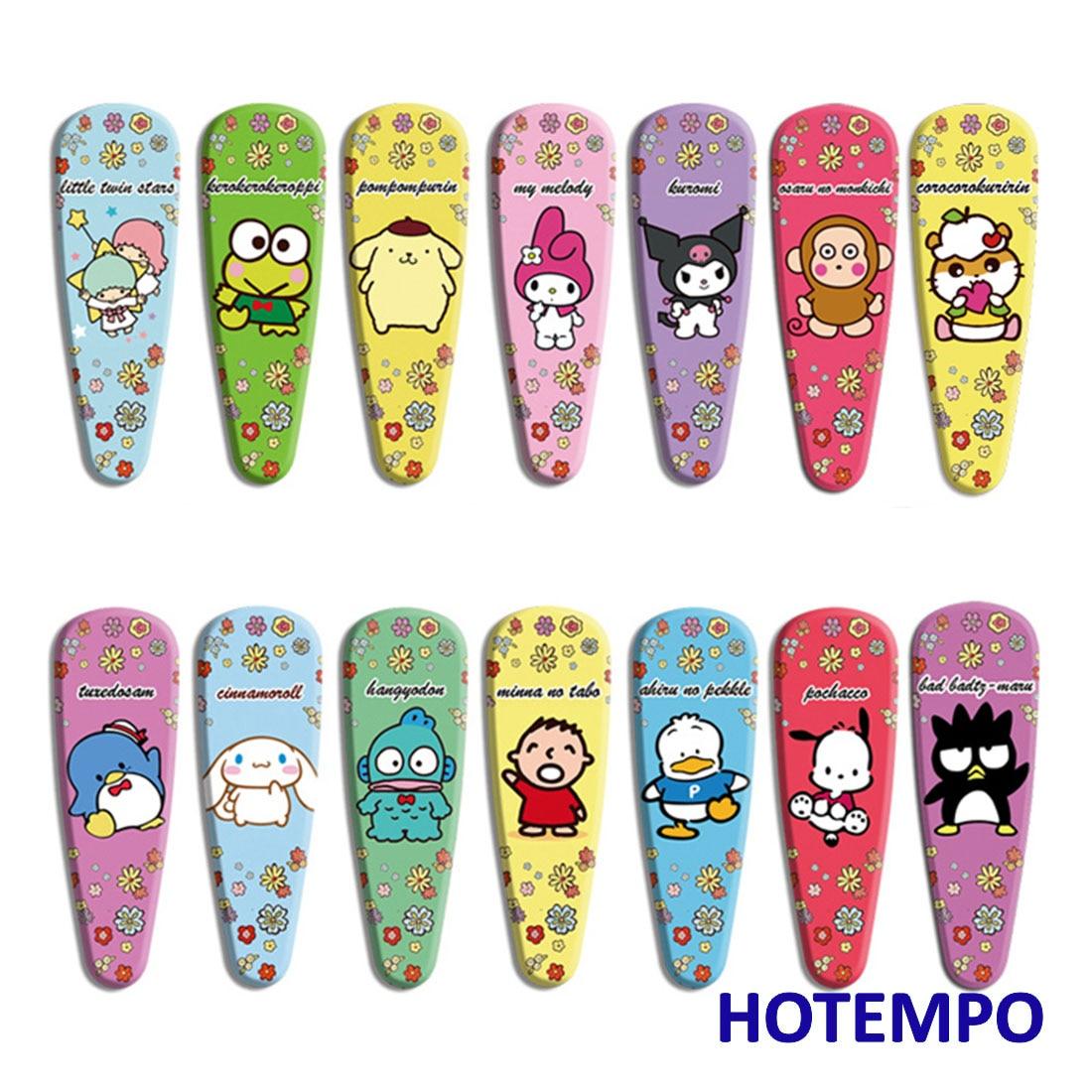 Cute Cartoon Cinnamoroll Pochacco Melody Kuromi Keroppi Sam Maru TwinStars Pekkle Tabo Kawaii Hairpins HairClips For Kids Gift