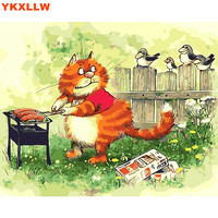 Cartoon Cat Picture For Children DIY Digital Paintings By Number Paint Numbers Oil Painting Pictures On