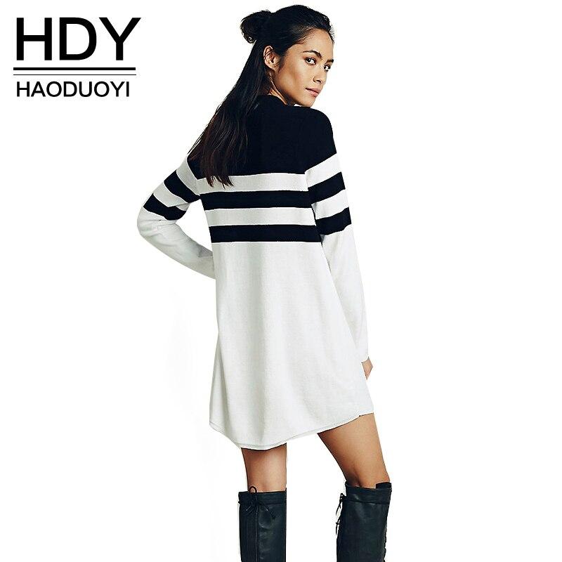 HDY Haoduoyi осень зима черный полосатый мини-о-образным вырезом белый свитер платье женщины с длинным рукавом трикотажные случайные свободные т...