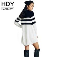 HDY Haoduoyi Цвет Блок полосатый мини-платье Для женщин с длинным рукавом сука прямо платье свободные трикотажные Длинные повседневные платья vestidos