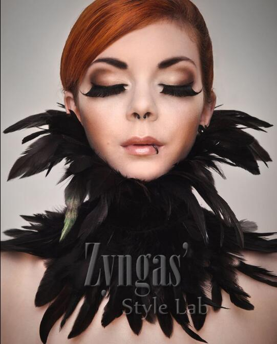 Feather Collar Black Stage Feather Neckwear