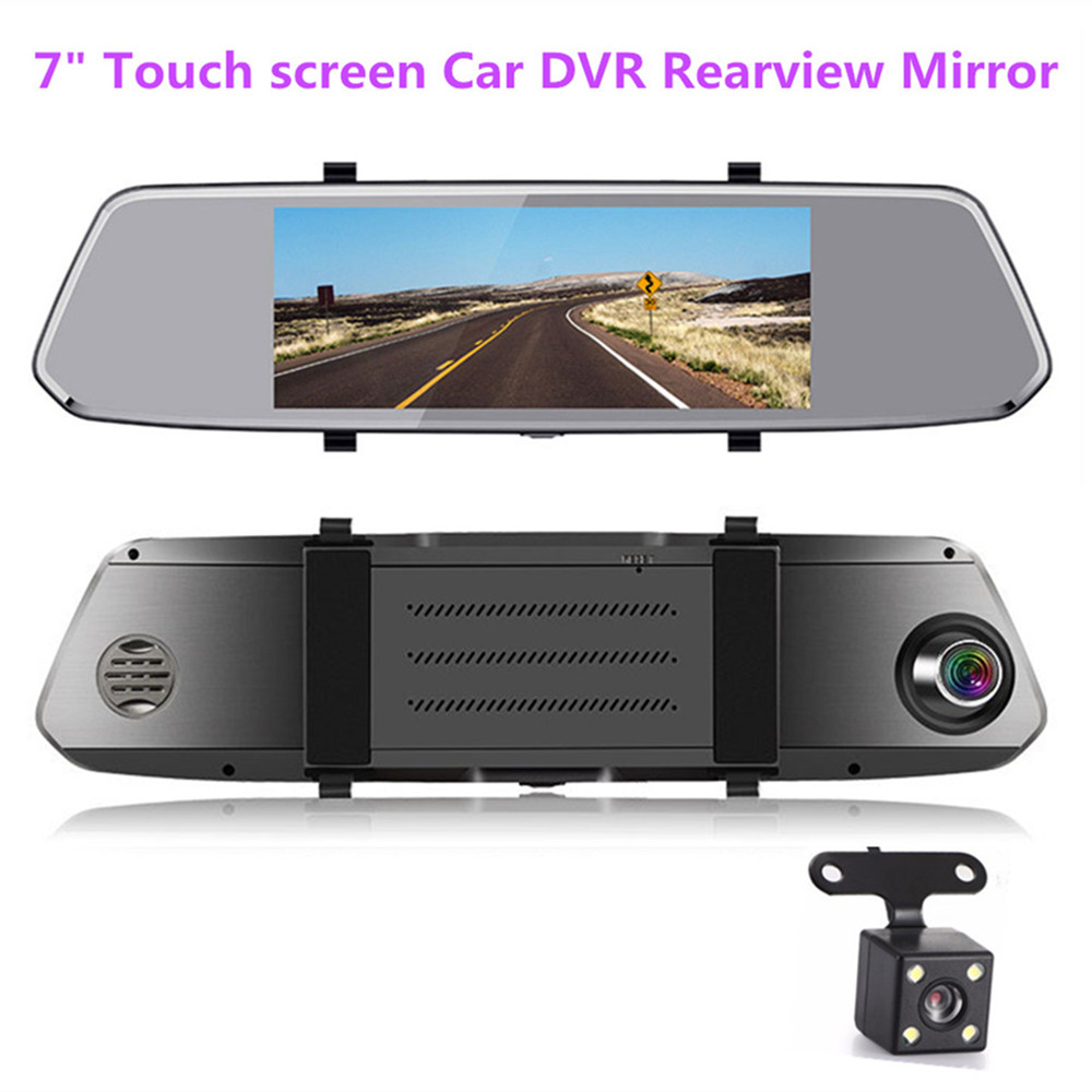 New 7 touch screen Car DVR rearview mirror 1080P Dual Lens Dash Cam Night Vision G