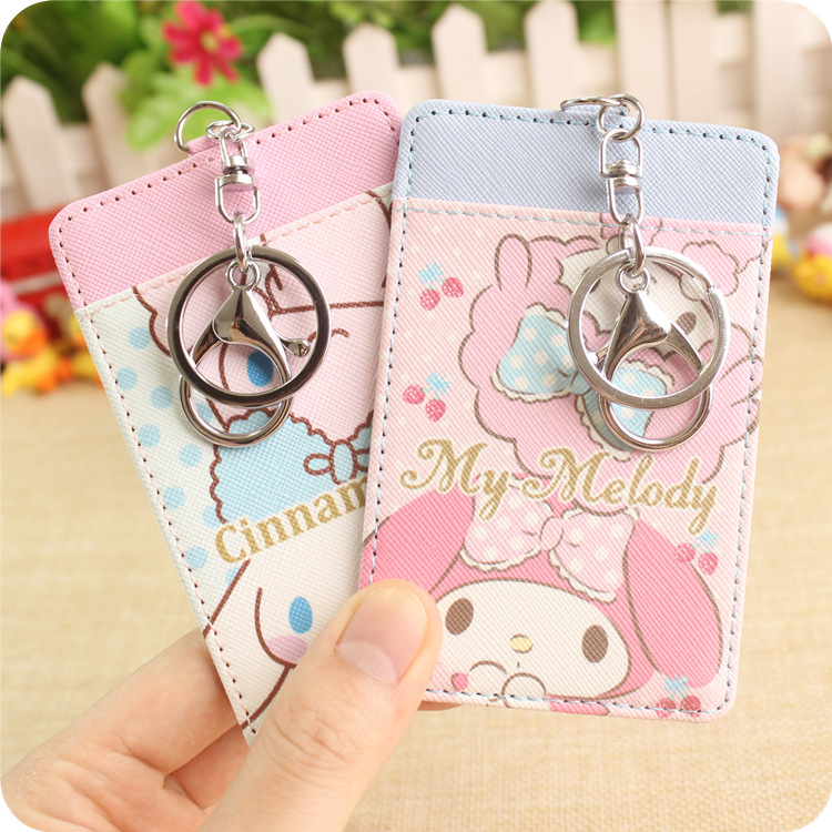 1PC Cartoon My Melody Little Twin Stars Pu Leather Card For Credit Card Bus Card Girls Collection