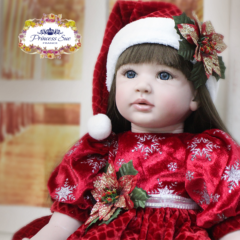 Pursue 24/60 cm Reborn Babies Doll Christmas Girl Like Real Toddler Baby With Matching Clothes Soft Body Silicone Limbs For Fun [mmmaww] christmas costume clothes for 18 45cm american girl doll santa sets with hat for alexander doll baby girl gift toy