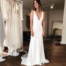 Simples ilusão sereia vestidos de casamento profundo v neck laço robe de maria sem costas capela trem vestidos de noiva