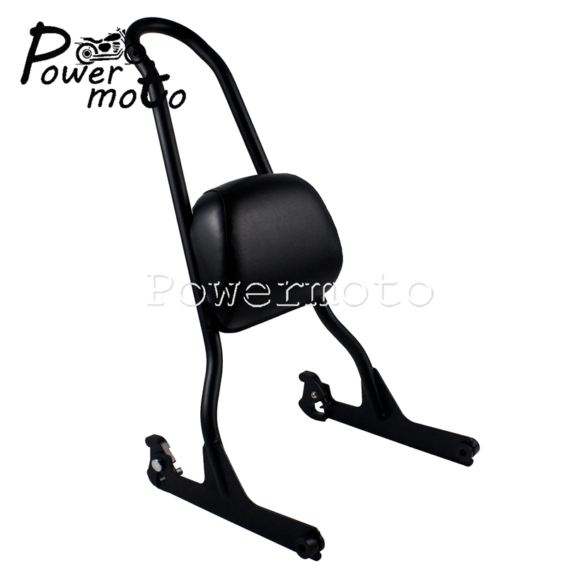 Adjustable Sissy Bar Passenger Backrest Pad Rack For Harley Fatboy FLSTF FLSTFB