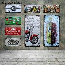Ретро моторное масло мотоцикл автомобиль номерной знак Route US 66 мотель винтажные оловянные вывески бензин стены художественный металлический плакат YA002
