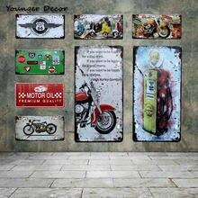 Retro Óleo de Motor Da Motocicleta Placa de Licença Do Carro Route EUA 66 Motel Gasolina Sinais Da Lata Do Vintage Arte Da Parede do Metal Poster YA002