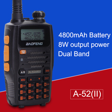 Baofeng A-52(II) 8w 4800mAh Li-ion Battery GT Transceiver Walkie Talkie 65-108/136-174/400-520MHz Dual Band Two-Way Ham Radio